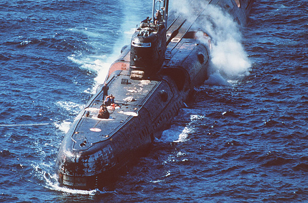 During refuelling in Vladivostok, Russia, the Echo II class submarine (like the one seen above) suffered an explosion,