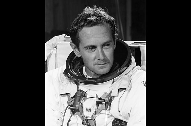 During his nearly three-day stay on the lunar surface, Duke collected rocks and soil. He also served as the backup lunar module pilot for Apollo 17.