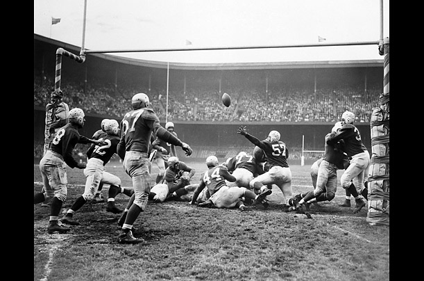The 1947 season featured many thrilling moments, including this goal ...