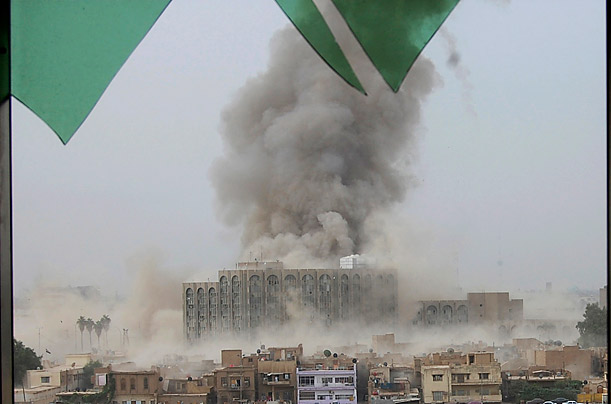 Suicide Blasts Rock Baghdad Three major government facilities are destroyed in a pair of blasts in the Iraqi capital