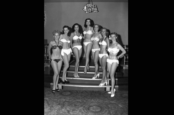 Bikinis are banned from beauty pageants around the world after the first Miss World Contest in London in 1951