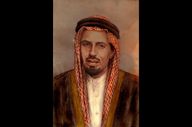 The grand patriarch of the Bin Laden family, a billionaire industrialist and father of Osama, appears in a 1964 painting.