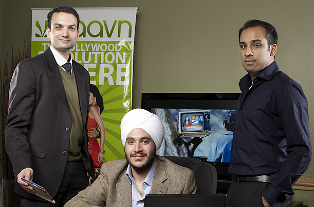 Saavn partners (left to right) Vin Bhat, Paramdeep Singh and Neal Shenoy, all Americans of Indian descent, formed their company in 2006. The letters in the firm's name are an acronym for South Asian audiovisual network.