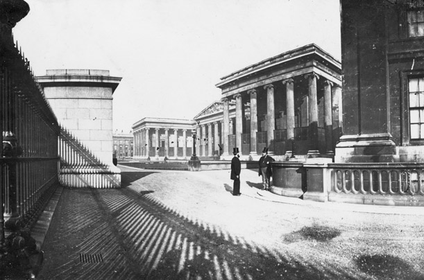 The courtyard and front of the British Museum as it was during the 1860s and still is today