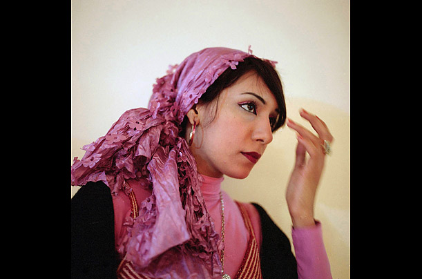 Hala dons a pink hijab for a date on Valentine's Day.