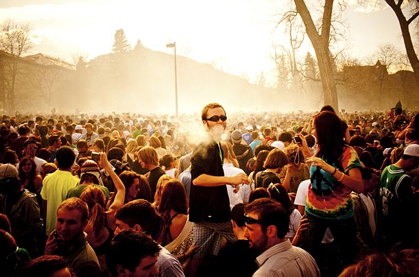 <span style='font-weight: bold'>Smoke-Out</span><br />In the past few years, the legalization movement has gained momentum through the popularity of mass gatherings (like this one at the University of Colorado, Boulder) that are held annually on April 20.