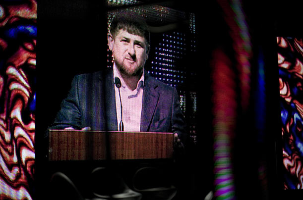 Chechen President Ramzan Kadyrov speaks at a Builder's Day celebration in April. The son of the previous Chechen President Akhmad Kadyrov,