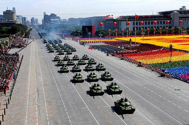 Tanks receive inspection in a parade as part of the celebrations of China's 60th anniversary