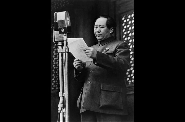 Mao Zedong declares the founding of the People's Republic of China