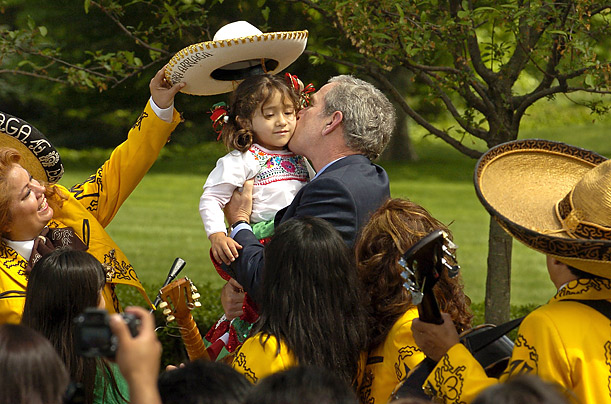 President Obama celebrated Cinco de Mayo at the White House a day early, alongside the Mexican ambassador, but he'll have to put in a few more years of partying if he wants to rival George W. Bush