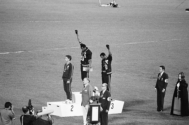 American Olympic runners Tommie Smith and John Carlos