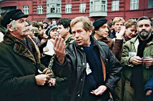 Vaclav Havel (center), the dissident playwright, who led the revolution before becoming president, addresses the crowd of demonstrators celebrating the 40th anniversary of the Universal Declarations of Human Rights back in December 1988 in Prague