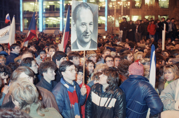In this photo from Nov. 23, 1989, demonstrators carry a picture of Alexander Dubcek, the leader of the ill-fated Prague Spring, as they march towards Wenceslas Square in Prague