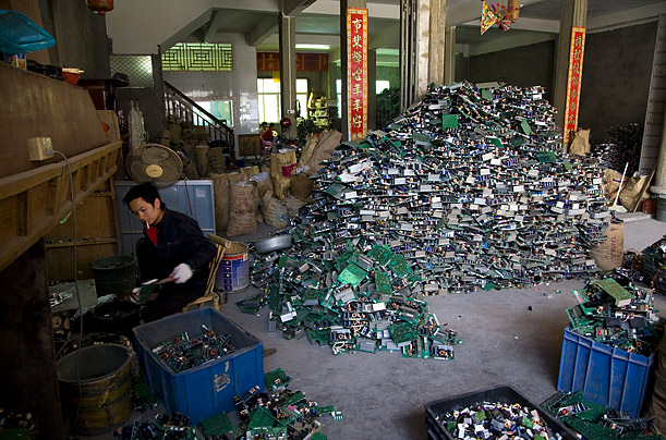 Almost 80% of the discarded electronics come from overseas, including the United States.