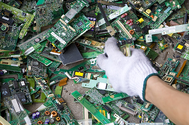 Circuit boards, which can contain tiny amounts of gold and silver, are treated with acid baths.