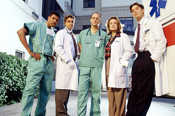 ER tv show george clooney noah wyle NBC anthony edwards mark greene doug ross carol hathaway michael crichton county general hospital eric la salle peter benton