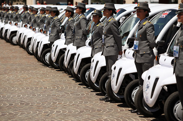 Electric cars used by members of the G8 world leaders are lined up for a