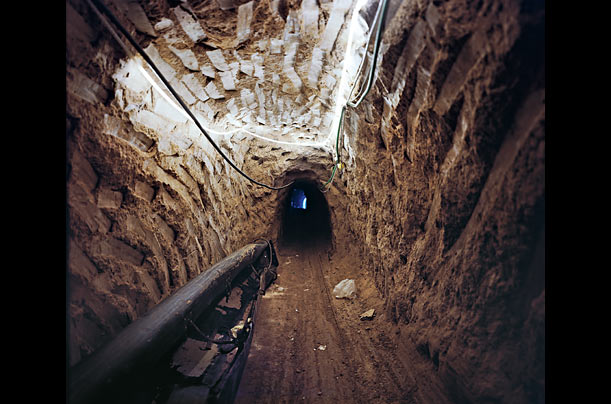 Narrow Passage  Hundreds of underground tunnels like this one pass from Gaza south into Egypt. Centered around the town of Rafah, they