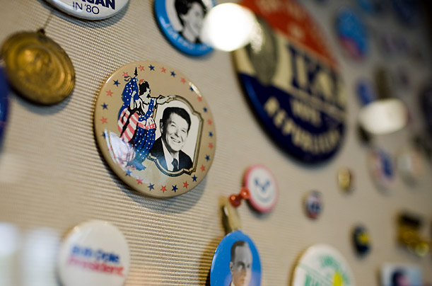 A small collection of GOP memorabilia is housed in a room adjacent to the lobby of the Republican Party's headquarters in Washington. The room is sometimes used for press conferences.