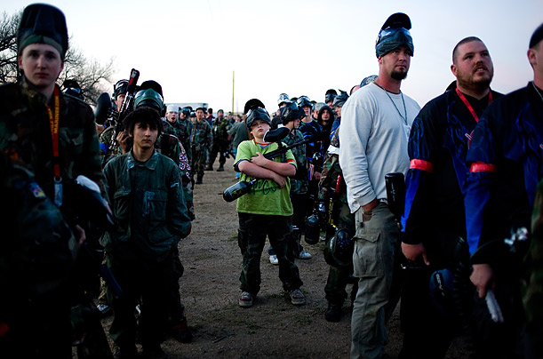 Paintball participants wait at a three-day event in Agate, Colorado.
