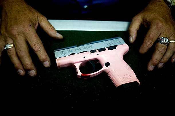 A pink handgun is one of many options available at the Family Shooting Center in cherry creek state part.