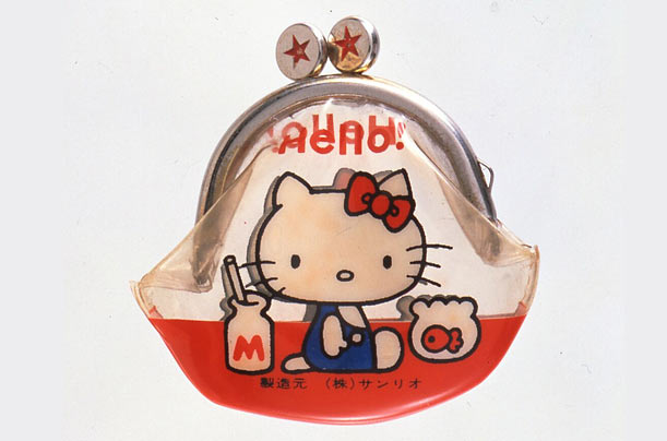 Hello Kitty first appeared as a decoration on a vinyl coin purse, made in Japan in 1974 by the company Sanrio.