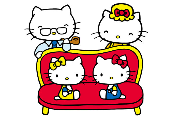 A year after Kitty's debut, Sanrio introduced her father George White, mother Mary and twin sister Mimmy, who, we are told, is Kitty's best friend.