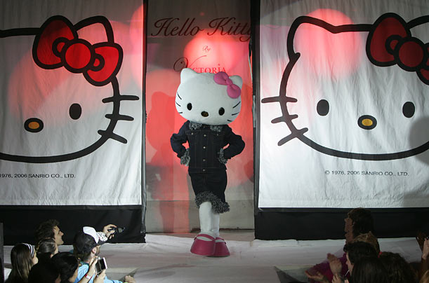 Over the years, Kitty has partnered with a variety of designers, in particular Victoria Couture, where a model dressed as the popular feline