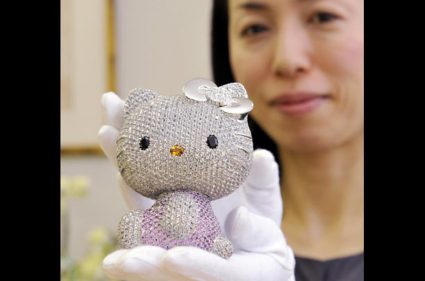 In honor of Kitty's 35th year, Swarovsky made a Hello Kitty doll studded with 403 pink sapphires and 1,939 pieces of white topaz.