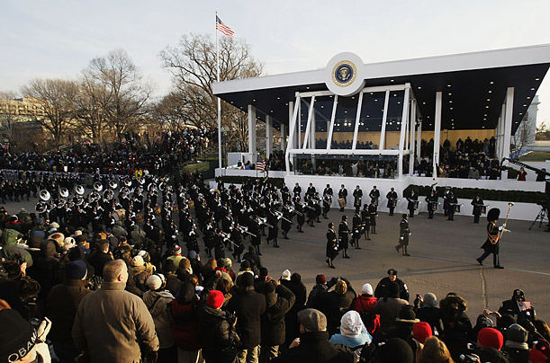 Marching bands from the United States Armed Forces pass the presidential reviewing stand at the Inauguration parade
