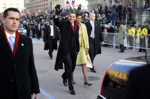 President Barack Obama and First Lady Michelle Obama walk the Inauguration parade route from the U.S. Capitol to the White House
