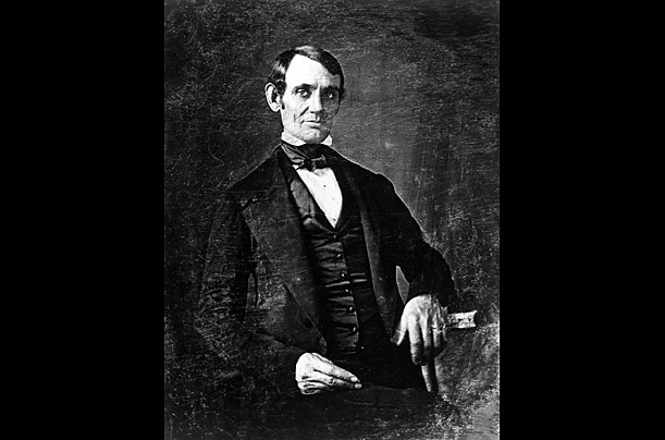 Believed to the oldest known image of Lincoln, this daguerreotype is attributed to Nicholas H. Shepherd, an early photographer in Springfield, Illinois