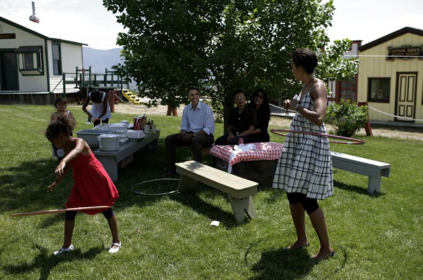 Celebrating the 4th of July in Butte, Mont., the First Lady demonstrated her hula-hoop ability in a casual sundress
