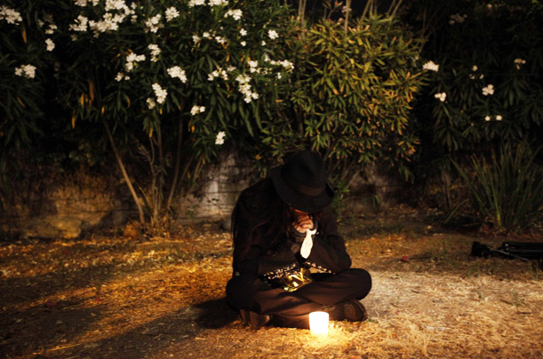 Lili Nour mourns outside the Jackson family home, in Encino, California.