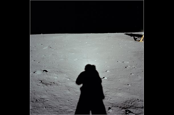 Armstrong, as the primary photographer, appears very infrequently in the film, but he did take numerous photographs of his shadow on the surface.