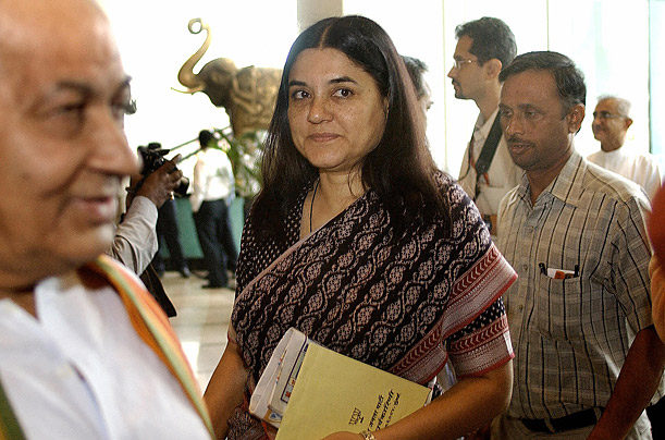 Sanjay Gandhi�s politically ambitious wife Maneka, a journalist and environmentalis