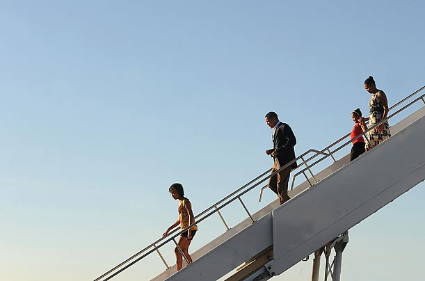 The First Family exits Air Force One for a weekend in the iconic American West.