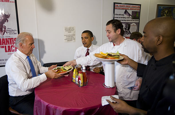 Breaking with their normal routine, the President and Vice President Biden, with the press in tow, opted to lunch together at Ray's Hell Burger, a hole-in-the-wall burger spot in a strip mall in Arlington Virginia.