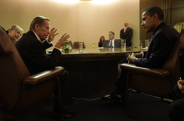 President Barack Obama meets with the former President of the Czech Republic, Vaclav Havel, at the end of the European Union Summit in Prague.