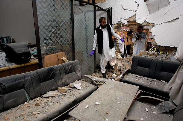 Suicide Bombs in Islamabad  An explosion took place in the second-floor office of the chairman of the university's Shari'a law department.