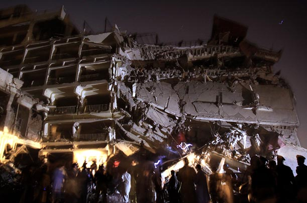 <span style='font-weight: bold'>Devastation</span><br />Witnesses report that the Hotel Pearl Continental was attacked by militants who opened fire on security guards and rushed a small truck packed with explosives through the gates of the hotel.