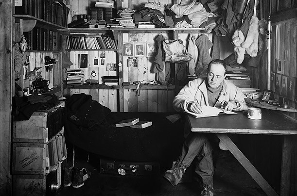 capt. scott writing in his journal in the winterquarters hut. October 7 1911