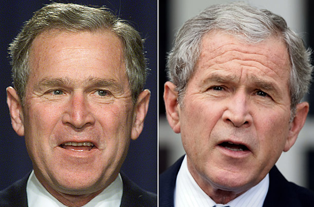 Bush 43 ends his administration with much more gray hair than he began with.