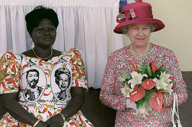 On a visit to Ghana, a woman greeted the Queen wearing a dress adorned with Her Majesty's likeness alongside that of President Jerry Rawlings in 1999