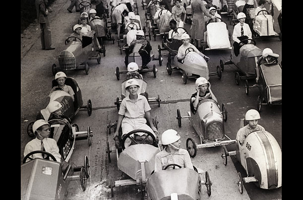 More than 300 contestants vied for the victory in the 1938 Philadelphia Soapbox Derby.  The race was won by 14-year-old Barton Bowman.