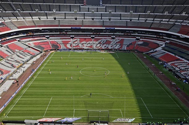 Mexico City's Aztec Stadium, one of the world's largest soccer stadiums, can accommodate 105,000 people. For this April 26 match between America and Tecos, not a single seat was occupied.