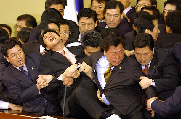 Though physical violence is not unique to South Korean politics, its legislators seem to have made a specialty of it. From 2005 to 2008,