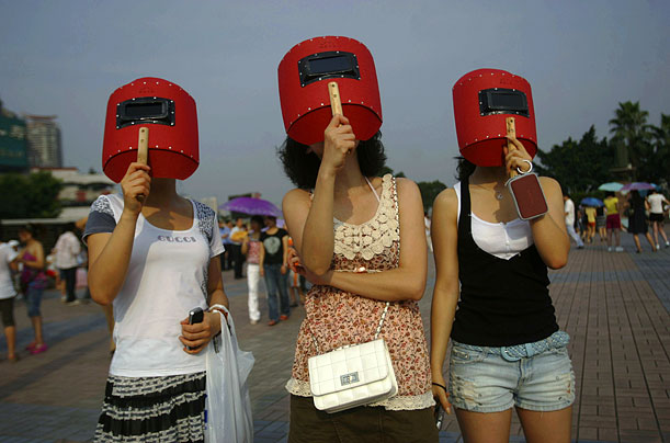 Welding masks were briefly fashionable as headgear in China's Shanxi province