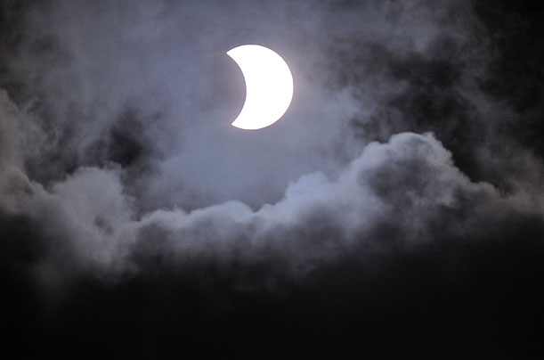 At the observatory of the University of the Philippines in Manila, witnesses caught this view of the partial solar eclipse