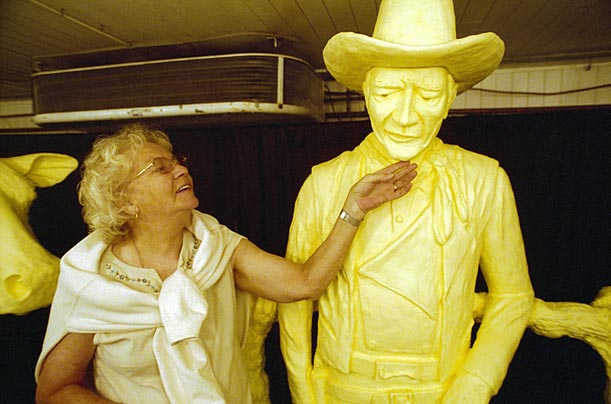 Butter sculptures, introduced initially by the dairy industry to promote its product, date to 1903. This 2001 entry, of actor John Wayne required 400 pounds of butter and four days of labor.